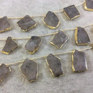 """Shop Smoky Quartz Bead Shapes! Gold Electroplated Smooth Freeform Slab Shaped Natural Smoky Quartz Top-Drilled Beads – 10.5"""" Strand (9 Beads) – Measures ~ 20mm x 30mm. 