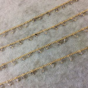 Shop Smoky Quartz Rondelle Beads! Gold Plated Copper Spaced Single Dangle Wrapped Chain With 3-4mm Smoky Quartz Rondelle Dangles – Sold By 1 Foot Length! (sd016-gd) | Natural genuine rondelle Smoky Quartz beads for beading and jewelry making.  #jewelry #beads #beadedjewelry #diyjewelry #jewelrymaking #beadstore #beading #affiliate #ad