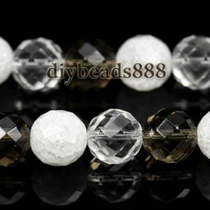 Shop Smoky Quartz Round Beads! 15 inch full strand natrual mixed Crystal Quartz,clear Quartz,cracked crystal quartz,smoky quartz faceted(64 faces)  round bead 10mm | Natural genuine round Smoky Quartz beads for beading and jewelry making.  #jewelry #beads #beadedjewelry #diyjewelry #jewelrymaking #beadstore #beading #affiliate #ad
