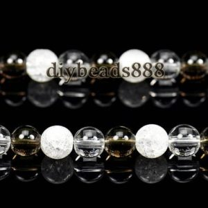 """Shop Smoky Quartz Round Beads! cracked rock crystal quartz + rock crystal quartz + Smoky Quartz smooth round beads,natural,6mm 8mm 10mm 12mm for Choice,15"""" full strand   Natural genuine round Smoky Quartz beads for beading and jewelry making.  #jewelry #beads #beadedjewelry #diyjewelry #jewelrymaking #beadstore #beading #affiliate #ad"""