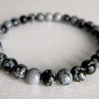 Snowflake Obsidian Bracelet, 6.7mm Aa Gemstone Stretch Bracelet, Stone Of Purity, Grounding Bracelet, Inner Centring, Balancing Bracelet | Natural genuine Gemstone jewelry. Buy crystal jewelry, handmade handcrafted artisan jewelry for women.  Unique handmade gift ideas. #jewelry #beadedjewelry #beadedjewelry #gift #shopping #handmadejewelry #fashion #style #product #jewelry #affiliate #ad