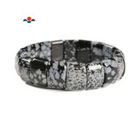 """Snowflake Obsidian Double Drill Bracelet Size Approx 11x15mm Length 7.5"""" 