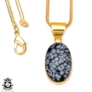 Shop Snowflake Obsidian Pendants! Snowflake Obsidian 24k Gold Plated Pendant 3mm Italian Snake Chain Gph78 | Natural genuine Snowflake Obsidian pendants. Buy crystal jewelry, handmade handcrafted artisan jewelry for women.  Unique handmade gift ideas. #jewelry #beadedpendants #beadedjewelry #gift #shopping #handmadejewelry #fashion #style #product #pendants #affiliate #ad