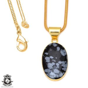 Shop Snowflake Obsidian Pendants! Snowflake Obsidian 24k Gold Plated Pendant 3mm Italian Snake Chain Gph75 | Natural genuine Snowflake Obsidian pendants. Buy crystal jewelry, handmade handcrafted artisan jewelry for women.  Unique handmade gift ideas. #jewelry #beadedpendants #beadedjewelry #gift #shopping #handmadejewelry #fashion #style #product #pendants #affiliate #ad