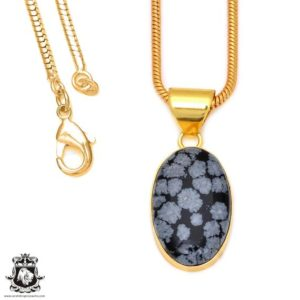 Shop Snowflake Obsidian Pendants! Snowflake Obsidian 24k Gold Plated Pendant 3mm Italian Snake Chain Gph77 | Natural genuine Snowflake Obsidian pendants. Buy crystal jewelry, handmade handcrafted artisan jewelry for women.  Unique handmade gift ideas. #jewelry #beadedpendants #beadedjewelry #gift #shopping #handmadejewelry #fashion #style #product #pendants #affiliate #ad