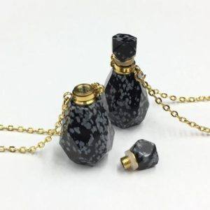 Shop Snowflake Obsidian Jewelry! Faceted Snowflake Obsidian Perfume Bottle Black Snowflake Obsidian Necklace Essential Oil Bottle Diffuser Scent Bottle Pendant Charm | Natural genuine Snowflake Obsidian jewelry. Buy crystal jewelry, handmade handcrafted artisan jewelry for women.  Unique handmade gift ideas. #jewelry #beadedjewelry #beadedjewelry #gift #shopping #handmadejewelry #fashion #style #product #jewelry #affiliate #ad
