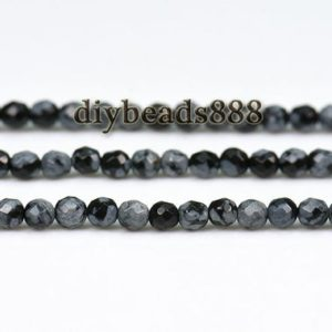 Shop Snowflake Obsidian Round Beads! Snowflake Obsidian,15 inch strand of natural black snowflake obsidian faceted(64 faces) round beads 2mm 3mm for Choice | Natural genuine round Snowflake Obsidian beads for beading and jewelry making.  #jewelry #beads #beadedjewelry #diyjewelry #jewelrymaking #beadstore #beading #affiliate #ad