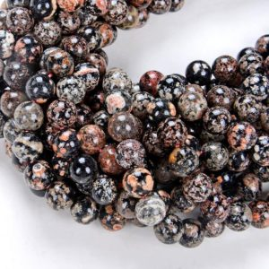 Shop Snowflake Obsidian Round Beads! 6MM Mexican Red Snowflake Obsidian Gemstone  Grade AAA Round Beads 7.5 inch Half Strand (80008038 H-D7) | Natural genuine round Snowflake Obsidian beads for beading and jewelry making.  #jewelry #beads #beadedjewelry #diyjewelry #jewelrymaking #beadstore #beading #affiliate #ad