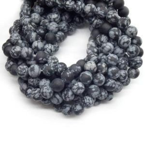 Shop Snowflake Obsidian Round Beads! Snowflake Obsidian Beads | Matte Black Snowflake Obsidian Round Beads | 4mm 6mm 8mm 10mm Available | Natural genuine round Snowflake Obsidian beads for beading and jewelry making.  #jewelry #beads #beadedjewelry #diyjewelry #jewelrymaking #beadstore #beading #affiliate #ad