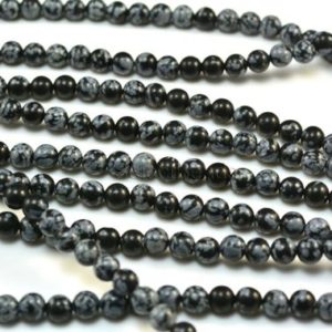 Shop Snowflake Obsidian Beads! Black And Grey Snowflake Obsidian Beads – Black And White Gemstone Round Beads – Natural Obsidian Beads – 4-14mm Round Beads – 15 Inch | Natural genuine beads Snowflake Obsidian beads for beading and jewelry making.  #jewelry #beads #beadedjewelry #diyjewelry #jewelrymaking #beadstore #beading #affiliate #ad