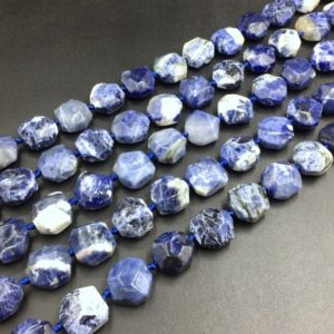 "Shop Sodalite Chip & Nugget Beads! Faceted Sodalite Cushion Beads Blue Sodalite Beads Octagon Beads Nugget Beads Focal Pendant Jewelry Beads 15.5"" Full Strand 