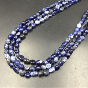 "Shop Sodalite Chip & Nugget Beads! Sodalite Pebble Beads Polished Blue Sodalite Nugget Beads 6-8mm Tiny Sodalite Beads Gemstone Beads 15.5"" Strand 