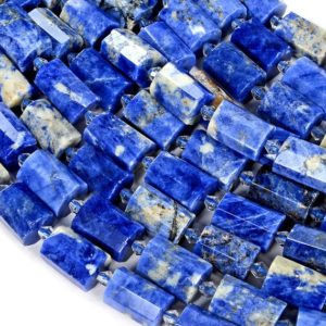 Shop Sodalite Faceted Beads! 17-19×11-13mm Sodalite Gemstone Faceted Round Tube Loose Beads (s8) | Natural genuine faceted Sodalite beads for beading and jewelry making.  #jewelry #beads #beadedjewelry #diyjewelry #jewelrymaking #beadstore #beading #affiliate #ad