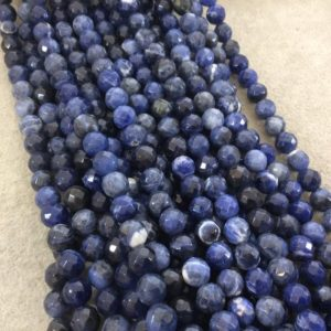 """Shop Sodalite Faceted Beads! 8mm Faceted Natural Sodalite Round/Ball Shaped Beads with 1mm Holes – Sold by 15"""" Strands (Approx. 46 Beads) – Quality Gemstone 