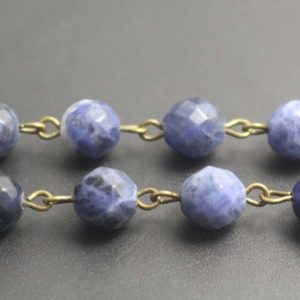 Faceted Sodalite Beads Chain Link With A Silver Or Bronze Chains , 6mm8mm10mm12mm | Natural genuine beads Gemstone beads for beading and jewelry making.  #jewelry #beads #beadedjewelry #diyjewelry #jewelrymaking #beadstore #beading #affiliate #ad