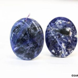 Shop Sodalite Faceted Beads! L/ Sodalite 40x50mm Faceted Flat Oval Pendant, Genuine Blue Sodalite Pendant, Top Front Drilled 2mm Hole, 1-each or 2-Pack | Natural genuine faceted Sodalite beads for beading and jewelry making.  #jewelry #beads #beadedjewelry #diyjewelry #jewelrymaking #beadstore #beading #affiliate #ad