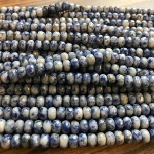 """Shop Sodalite Faceted Beads! Natural sodalite 6x3mm 8x5mm faceted rondelle Gemstone Beads–15.5""""–1 strand/3 strands 