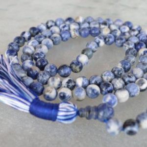 Shop Sodalite Necklaces! 108 Blue Sodalite Mala Beads Necklace, Sodalite Healing Jewelry To Overcome Fears, Helps Get Rid Of Guilty Feelings And Irrational Fears | Natural genuine Sodalite necklaces. Buy crystal jewelry, handmade handcrafted artisan jewelry for women.  Unique handmade gift ideas. #jewelry #beadednecklaces #beadedjewelry #gift #shopping #handmadejewelry #fashion #style #product #necklaces #affiliate #ad
