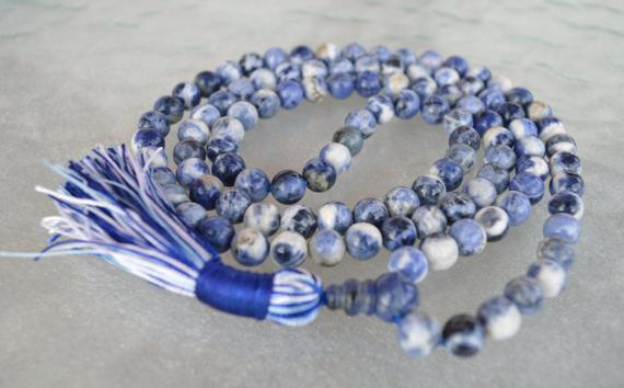 108 Blue Sodalite Mala Beads Necklace, Sodalite Healing Jewelry To Overcome Fears, Helps Get Rid Of Guilty Feelings And Irrational Fears