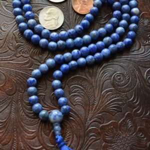 Shop Sodalite Necklaces! Sodalite Hand Knotted Mala Beads Necklace To Overcome Fears, Helps Get Rid Of Guilty Feelings And Irrational Fears, Sodalite Healing Beads | Natural genuine Sodalite necklaces. Buy crystal jewelry, handmade handcrafted artisan jewelry for women.  Unique handmade gift ideas. #jewelry #beadednecklaces #beadedjewelry #gift #shopping #handmadejewelry #fashion #style #product #necklaces #affiliate #ad