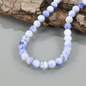 Shop Sodalite Necklaces! Natural Sodolite Necklace 925 Sterling Silver Smooth Round Necklace Sodolite Beads Necklace Beautiful Handmade Beaded Jewelry Christmas Gift | Natural genuine Sodalite necklaces. Buy crystal jewelry, handmade handcrafted artisan jewelry for women.  Unique handmade gift ideas. #jewelry #beadednecklaces #beadedjewelry #gift #shopping #handmadejewelry #fashion #style #product #necklaces #affiliate #ad