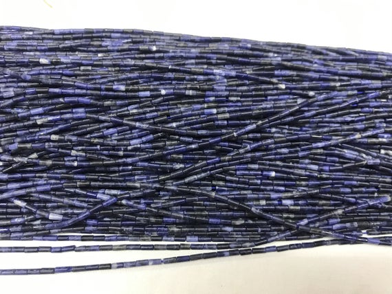Natural Sodalite 2x4mm Column Genuine Blue Gemstone Loose Tube Beads 15 Inch Jewelry Supply Bracelet Necklace Material Support Wholesale