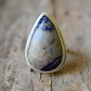Shop Sodalite Rings! Sodalite gemstone ring , Statement ring , 925 sterling silver , Sodalite gemstone silver ring , women jewellery gift #B302   Natural genuine Sodalite rings, simple unique handcrafted gemstone rings. #rings #jewelry #shopping #gift #handmade #fashion #style #affiliate #ad