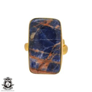 Shop Sodalite Rings! Size 6.5 – Size 8 Adjustable Sodalite 24K Gold Plated Ring GPR203   Natural genuine Sodalite rings, simple unique handcrafted gemstone rings. #rings #jewelry #shopping #gift #handmade #fashion #style #affiliate #ad