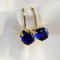 Blue Spinel Leverbacks, 6mm Round Set In 14 Kt Yellow Gold Filled Leverback Earrings | Natural genuine Gemstone jewelry. Buy crystal jewelry, handmade handcrafted artisan jewelry for women.  Unique handmade gift ideas. #jewelry #beadedjewelry #beadedjewelry #gift #shopping #handmadejewelry #fashion #style #product #jewelry #affiliate #ad