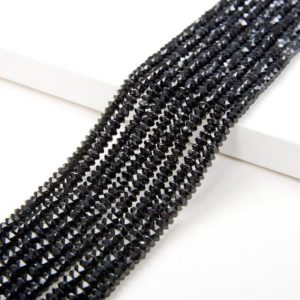 Shop Spinel Faceted Beads! 3x2MM Black Spinal Gemstone Grade AAA Bicone Faceted Rondelle Saucer Loose Beads (P2)   Natural genuine faceted Spinel beads for beading and jewelry making.  #jewelry #beads #beadedjewelry #diyjewelry #jewelrymaking #beadstore #beading #affiliate #ad