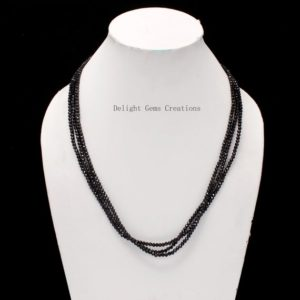 Shop Spinel Necklaces! Black Spinel Faceted Beads Necklace, 3mm Black Spinel Round Beads Necklace, Multi Layering Necklace, Sparkling Black Beads Silver Necklace | Natural genuine Spinel necklaces. Buy crystal jewelry, handmade handcrafted artisan jewelry for women.  Unique handmade gift ideas. #jewelry #beadednecklaces #beadedjewelry #gift #shopping #handmadejewelry #fashion #style #product #necklaces #affiliate #ad