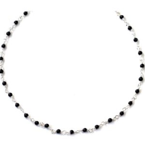 Shop Spinel Necklaces! Black Spinel Necklace Smooth Spaced Link Beaded Sterling Silver Or Faceted 14k Yellow Gold Fill 18 19 Inches Classic Design Dainty Small | Natural genuine Spinel necklaces. Buy crystal jewelry, handmade handcrafted artisan jewelry for women.  Unique handmade gift ideas. #jewelry #beadednecklaces #beadedjewelry #gift #shopping #handmadejewelry #fashion #style #product #necklaces #affiliate #ad