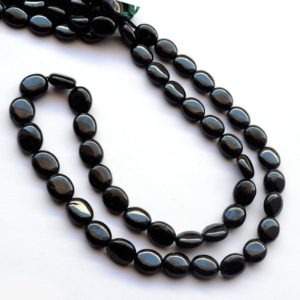Shop Spinel Bead Shapes! Natural Black Spinel Plain Oval Beads, 6mm To 10mm/10mm To 11mm Smooth Black Spinel Beads, Sold As 18 Inch Strand, GDS2031 | Natural genuine other-shape Spinel beads for beading and jewelry making.  #jewelry #beads #beadedjewelry #diyjewelry #jewelrymaking #beadstore #beading #affiliate #ad