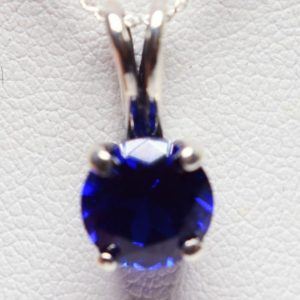 Shop Spinel Pendants! Blue Spinel Pendant, 8mm 2.25ct Round Gemstone, Set in 925 Sterling Silver Ornate Pendant Mount, 18inch Chain Included | Natural genuine Spinel pendants. Buy crystal jewelry, handmade handcrafted artisan jewelry for women.  Unique handmade gift ideas. #jewelry #beadedpendants #beadedjewelry #gift #shopping #handmadejewelry #fashion #style #product #pendants #affiliate #ad
