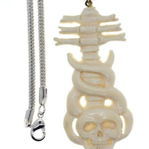 Shop Spinel Pendants! Spinal Cord attached to Skull Carving Pendant 4MM Italian Snake Chain C148 | Natural genuine Spinel pendants. Buy crystal jewelry, handmade handcrafted artisan jewelry for women.  Unique handmade gift ideas. #jewelry #beadedpendants #beadedjewelry #gift #shopping #handmadejewelry #fashion #style #product #pendants #affiliate #ad