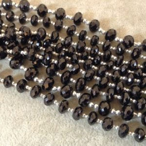 Shop Spinel Rondelle Beads! Black Spinel Rondelle Bead Strand, 5x8mm, Approx. 25 Beads Per Strand | Natural genuine rondelle Spinel beads for beading and jewelry making.  #jewelry #beads #beadedjewelry #diyjewelry #jewelrymaking #beadstore #beading #affiliate #ad