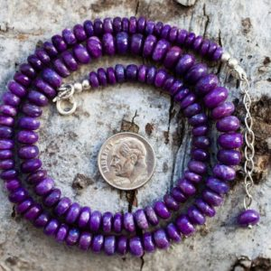 Shop Sugilite Necklaces! Sugilite Necklace – Sugilite Graduated Rondelle Bead Necklace 3-8mm Sugilite Rondelle Necklace – Purple Sugilite Necklace – Sugi | Natural genuine Sugilite necklaces. Buy crystal jewelry, handmade handcrafted artisan jewelry for women.  Unique handmade gift ideas. #jewelry #beadednecklaces #beadedjewelry #gift #shopping #handmadejewelry #fashion #style #product #necklaces #affiliate #ad