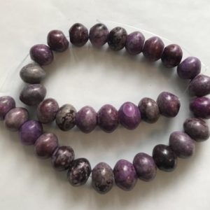 Shop Sugilite Beads! Sugilite 14x10mm Rondelle Gemstone Bead–15.5 inch strand | Natural genuine rondelle Sugilite beads for beading and jewelry making.  #jewelry #beads #beadedjewelry #diyjewelry #jewelrymaking #beadstore #beading #affiliate #ad
