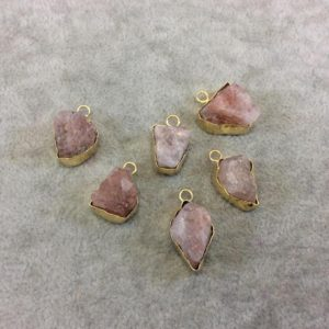 Shop Sunstone Chip & Nugget Beads! Gold Finish Medium Raw Nugget Genuine Peach Sunstone Wavy Bezel Pendant – 15mm – 20mm Long, Approx. – Sold Individually, Selected Randomly | Natural genuine chip Sunstone beads for beading and jewelry making.  #jewelry #beads #beadedjewelry #diyjewelry #jewelrymaking #beadstore #beading #affiliate #ad