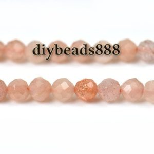 Shop Sunstone Faceted Beads! Sunstone,15 inch full strand Grade A Sunstone faceted round beads 2mm 3mm | Natural genuine faceted Sunstone beads for beading and jewelry making.  #jewelry #beads #beadedjewelry #diyjewelry #jewelrymaking #beadstore #beading #affiliate #ad