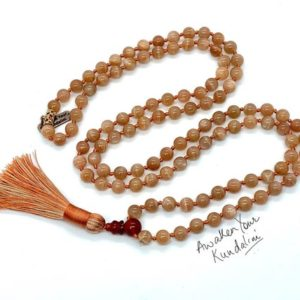 Shop Sunstone Necklaces! AAA Sunstone Knotted Mala Beads beaded Necklace 108 Prayer Bead Yoga Japa Jewelry Mantra Meditation beads Spiritual Jewelry mindfulness gift | Natural genuine Sunstone necklaces. Buy crystal jewelry, handmade handcrafted artisan jewelry for women.  Unique handmade gift ideas. #jewelry #beadednecklaces #beadedjewelry #gift #shopping #handmadejewelry #fashion #style #product #necklaces #affiliate #ad