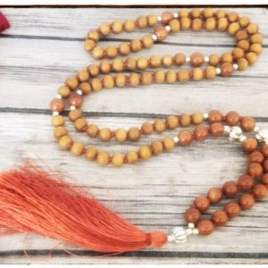 Shop Sunstone Necklaces! Sandalwood necklace for women, sunstone necklace for men, japa mala beads 108 mala necklace, prayer bead necklace, yoga lover gift for her | Natural genuine Sunstone necklaces. Buy handcrafted artisan men's jewelry, gifts for men.  Unique handmade mens fashion accessories. #jewelry #beadednecklaces #beadedjewelry #shopping #gift #handmadejewelry #necklaces #affiliate #ad