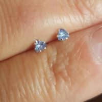 Tiny Tanzanite Stud Earrings. Trillion Cut Tanzanite & Silver Earrings 2.5mm. Genuine Tanzanite. Pale Cornflower Blue Tanzanite. | Natural genuine Gemstone jewelry. Buy crystal jewelry, handmade handcrafted artisan jewelry for women.  Unique handmade gift ideas. #jewelry #beadedjewelry #beadedjewelry #gift #shopping #handmadejewelry #fashion #style #product #jewelry #affiliate #ad
