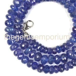 Shop Tanzanite Necklaces! Tanzanite Faceted Rondelle Necklace, Tanzanite Faceted Beads, Tanzanite Rondelle Beads, Tanzanite Beads, Tanzanite Necklace | Natural genuine Tanzanite necklaces. Buy crystal jewelry, handmade handcrafted artisan jewelry for women.  Unique handmade gift ideas. #jewelry #beadednecklaces #beadedjewelry #gift #shopping #handmadejewelry #fashion #style #product #necklaces #affiliate #ad