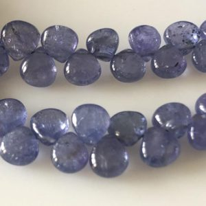 """5mm To 7mm Natural Tanzanite Smooth Heart Briolette Beads, Tanzanite Heart Beads, Tanzanite Jewelry, Tanzanite Stone, 15""""/7.5"""" GDS1706 