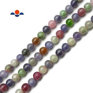 "Shop Tanzanite Round Beads! Natural Mixed Color Tanzanite Smooth Round Beads Size 8mm 15.5"" Strand 