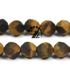 """Shop Tiger Eye Chip & Nugget Beads! Grade A Yellow Tiger Eye matte Faceted Nugget Star Cut Bead,Diamond cut bead,natural,gemstone,diy,6mm 8mm 10mm for choice,15"""" full strand 