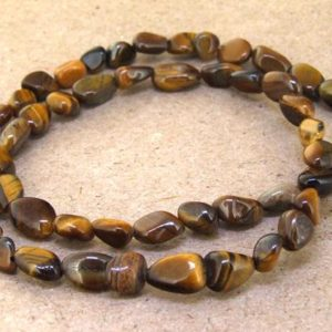 """Shop Tiger Eye Chip & Nugget Beads! Loose strand Nugget yellow tiger eye Gemstone Beads- 6mmx 8mm  50Pieces —– gemstone beads— 15.5"""" in length 