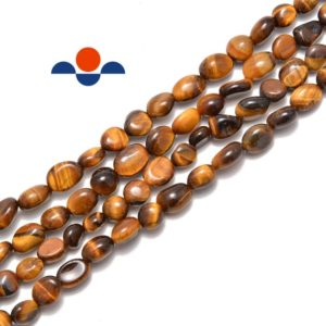 """Shop Tiger Eye Chip & Nugget Beads! Natural Yellow Tiger Eye Pebble Nugget Beads Approx 5-8mm 15.5"""" Strand 
