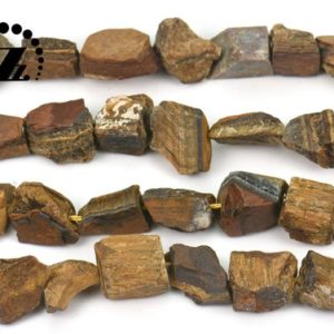 """Shop Tiger Eye Chip & Nugget Beads! Yellow Tiger Eye Cut Nugget bead,raw bead,Chunky Nugget,Genuine,Natural,diy,8-18×14-19mm,15"""" full strand 